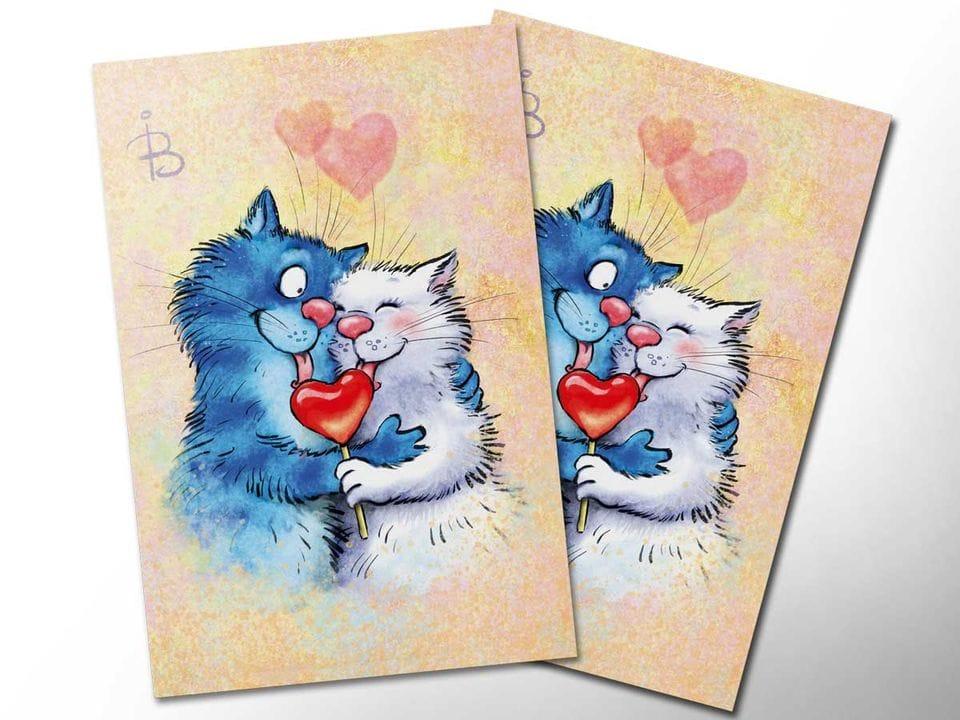 Почтовая открытка «14 февраля», из коллекции Ирины Зенюк «Синие коты»