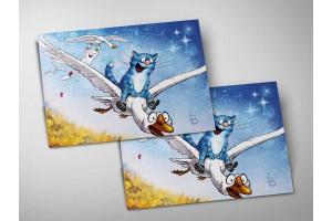 Почтовая открытка «Фантазия до мажор», синие коты, Ирина Зенюк