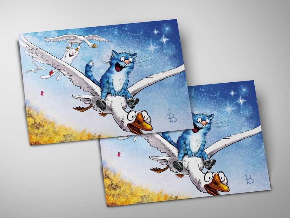 Почтовая открытка «Фантазия до мажор», из коллекции Ирины Зенюк «Синие коты»