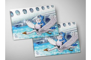 Почтовая открытка «Фантазия ре мажор», синие коты, Ирина Зенюк