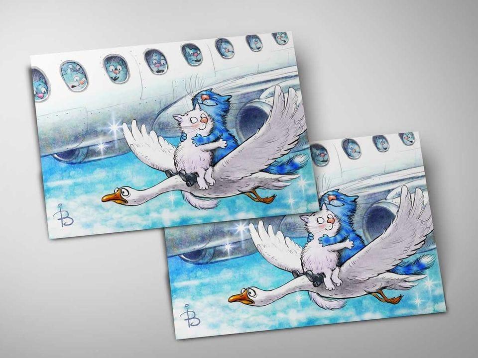 Почтовая открытка «Фантазия ре мажор», из коллекции Ирины Зенюк «Синие коты»