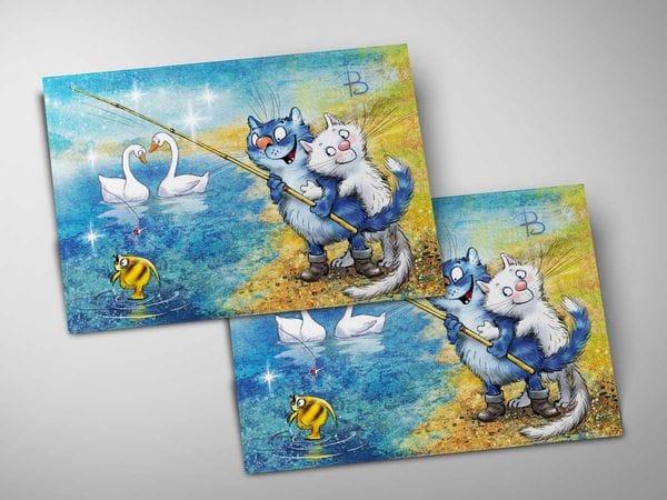 Почтовая открытка «Фантазия фа-диез мажор», синие коты, Ирина Зенюк