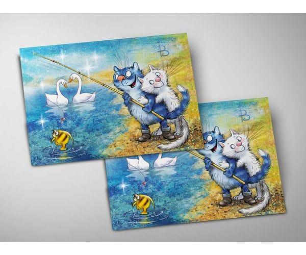 Почтовая открытка «Фантазия фа-диез мажор», из коллекции Ирины Зенюк «Синие коты»