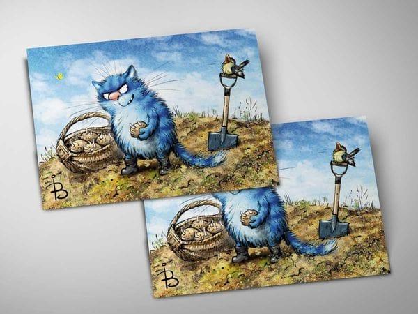 Почтовая открытка «Картошка», синие коты, Ирина Зенюк
