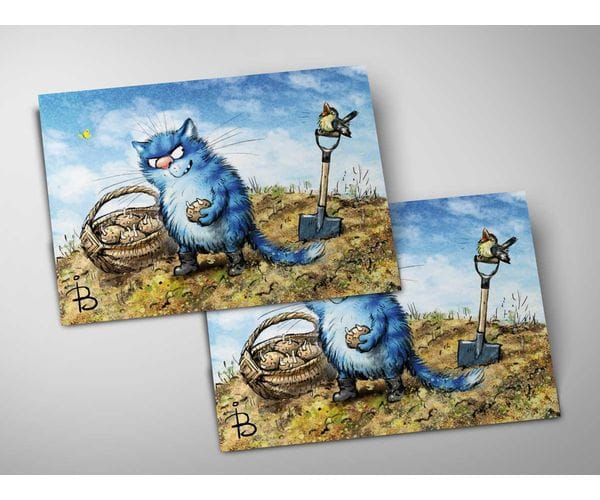 Почтовая открытка «Картошка», из коллекции Ирины Зенюк «Синие коты»