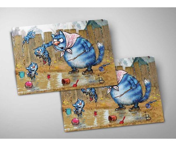 Почтовая открытка «Лужа», из коллекции Ирины Зенюк «Синие коты»