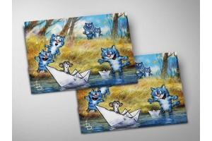 Почтовая открытка «Кораблики», синие коты, Ирина Зенюк