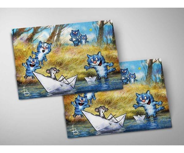 Почтовая открытка «Кораблики», из коллекции Ирины Зенюк «Синие коты»