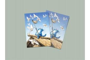 Почтовая открытка «Голуби», синие коты, Ирина Зенюк