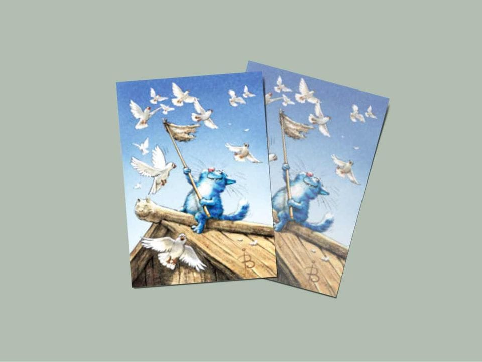 Открытка из коллекции Ирины Зенюк про синих котов  - «Голуби»