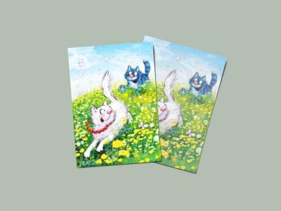 Почтовая открытка «Догони 1», синие коты, Ирина Зенюк
