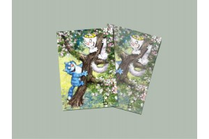 Почтовая открытка «Догони 2», синие коты, Ирина Зенюк