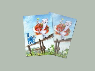 Почтовая открытка «Догони 3», синие коты, Ирина Зенюк