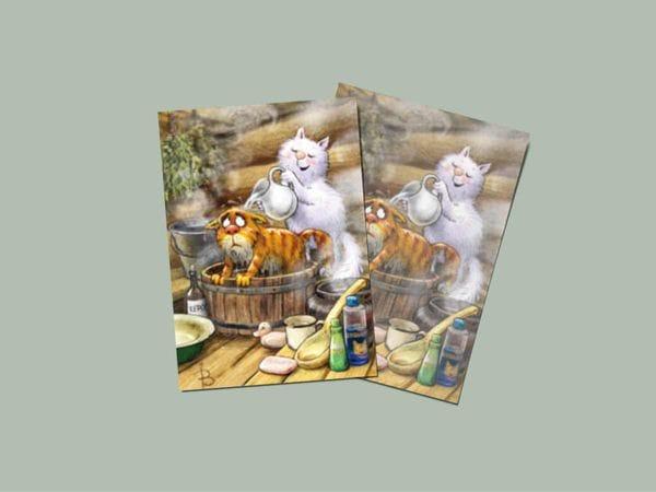Почтовая открытка «Блохи», синие коты, Ирина Зенюк