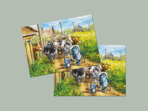 Почтовая открытка «Утро», синие коты, Ирина Зенюк