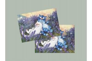 Почтовая открытка «Лаванда», синие коты, Ирина Зенюк