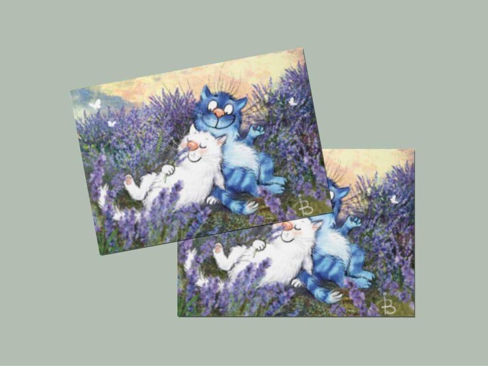 Открытка из коллекции Ирины Зенюк про синих котов  - «Лаванда»