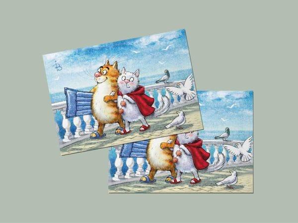Почтовая открытка «Бархатный сезон», синие коты, Ирина Зенюк