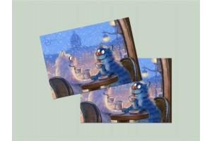 Почтовая открытка «Зингер», синие коты, Ирина Зенюк