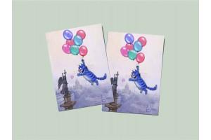 Почтовая открытка «Шарики», синие коты, Ирина Зенюк