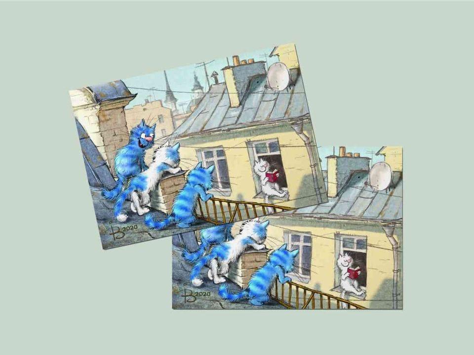 Открытка из коллекции Ирины Зенюк про синих котов  - «Это Питер, детка»