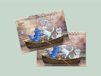 Почтовая открытка «Северная Венеция», синие коты, Ирина Зенюк