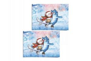 Почтовая открытка «Каток 1», синие коты, Ирина Зенюк