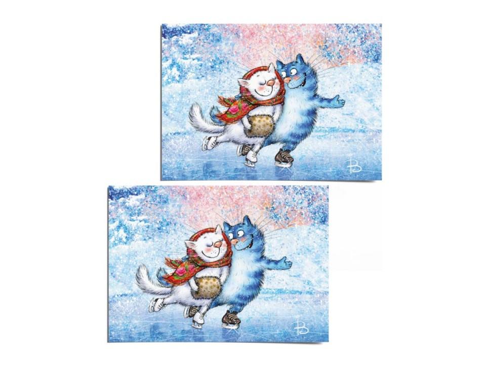 Почтовая открытка «Каток 1», из коллекции «Синие коты» Ирины Зенюк