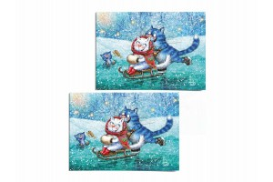 Почтовая открытка «Каток 2», синие коты, Ирина Зенюк