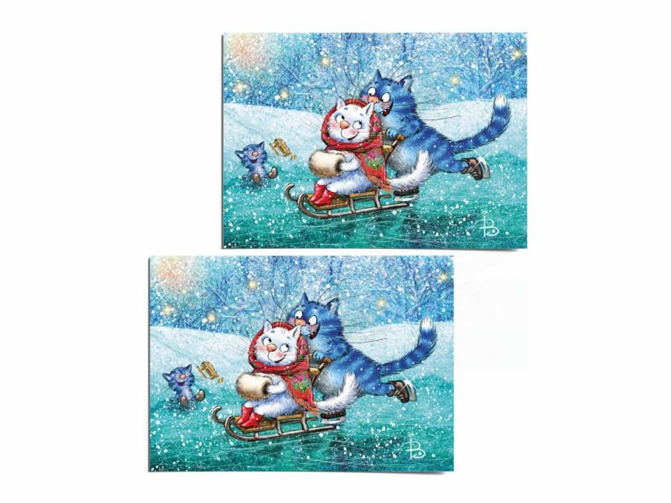 Почтовая открытка «Каток 2», из коллекции Ирины Зенюк «Синие коты»