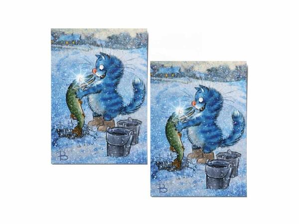 Почтовая открытка «По щучьему», синие коты, Ирина Зенюк