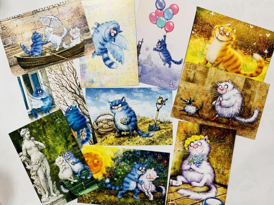 Синие коты Зенюк - набор открыток из 10шт