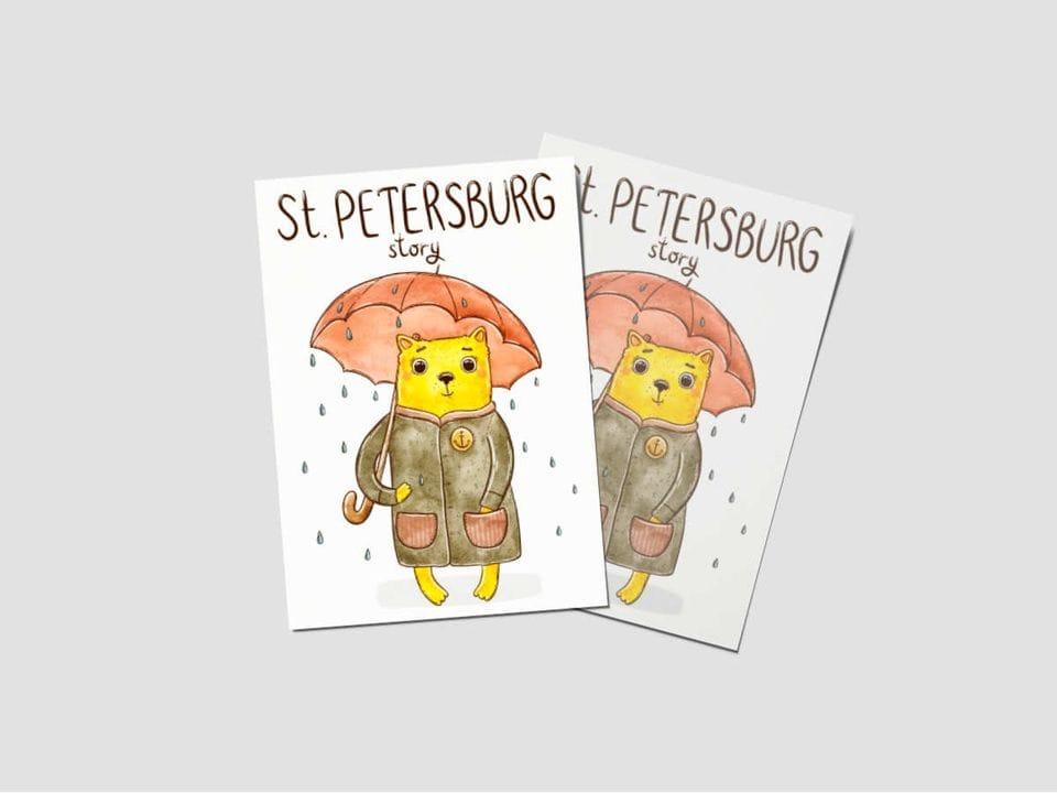Почтовая открытка «St.Petersburg story» коты
