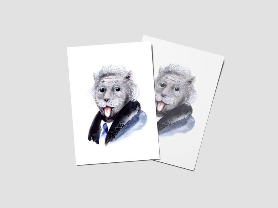 Почтовая открытка «Эйнштейн», котики-знаменитости
