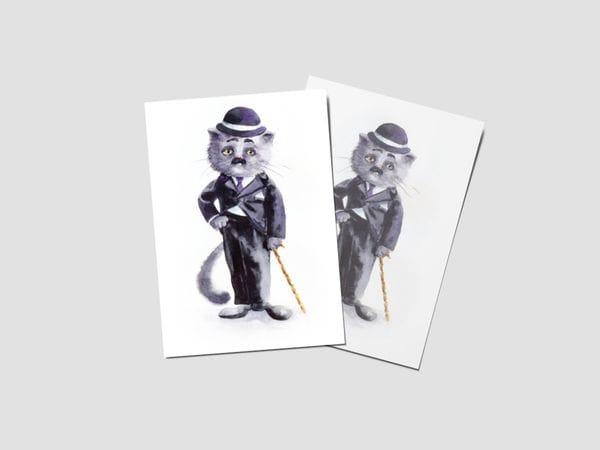 Открытка почтовая «Чарли Чаплин», великие коты