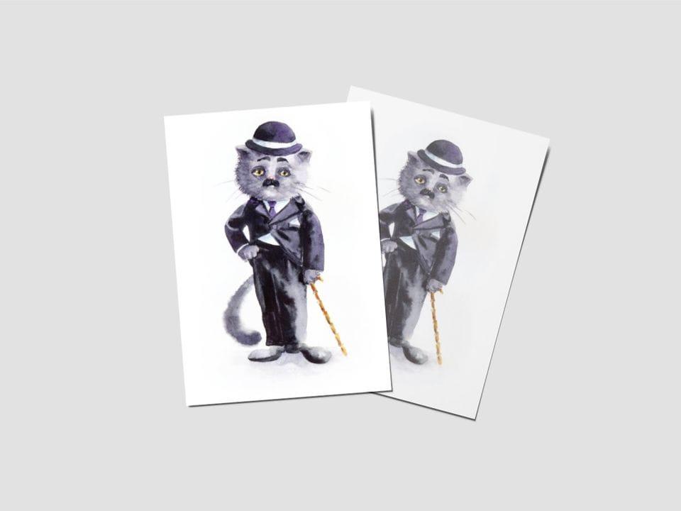 Почтовая открытка «Чарли Чаплин», котики-знаменитости