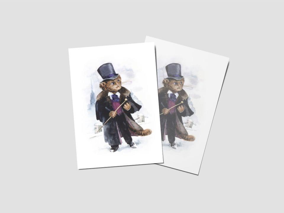 Почтовая открытка «Пушкин», котики-знаменитости