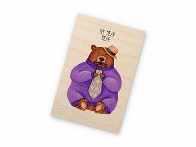 Деревянная открытка Takewood «Дорогой мишка»