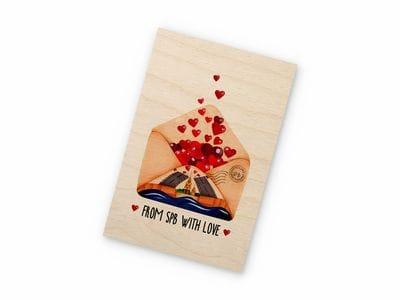 Открытка деревянная Takewood  «From SPB with love» с цветным принтом