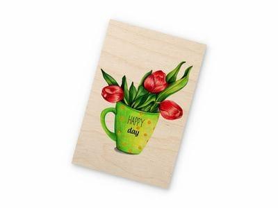 Деревянная открытка Takewood «Кружка с цветами»