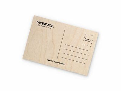 Деревянная открытка Takewood «Сердце Москвы и Питера»