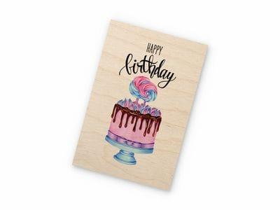 Открытка деревянная Takewood «Sweet Happy Birthday» с цветным принтом