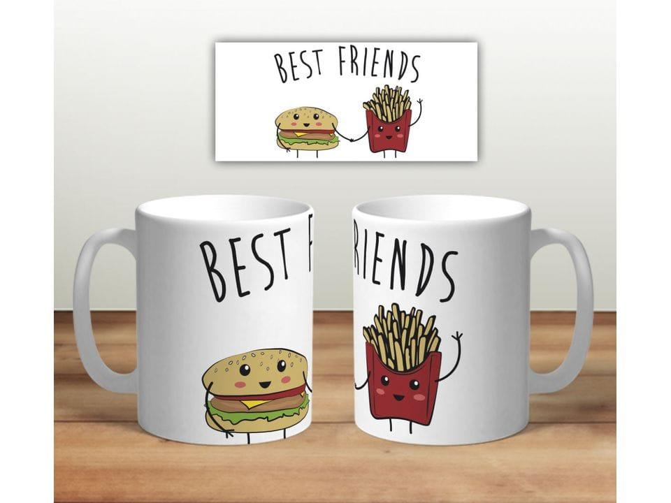 Керамическая кружка с принтом «Бургер и картошка»