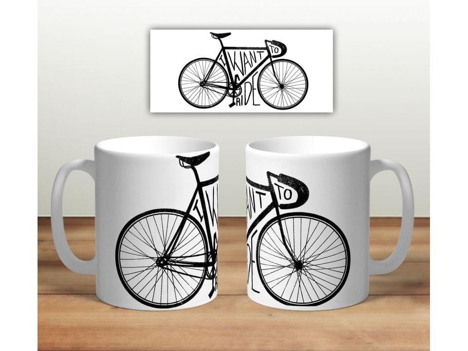 Керамическая кружка с принтом «Велосипед. I want to ride»