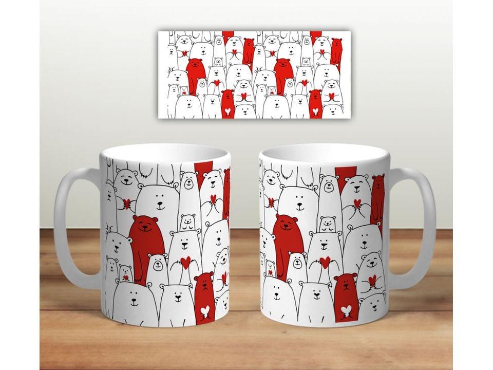 Керамическая кружка с принтом «Белые медведи. И красные»