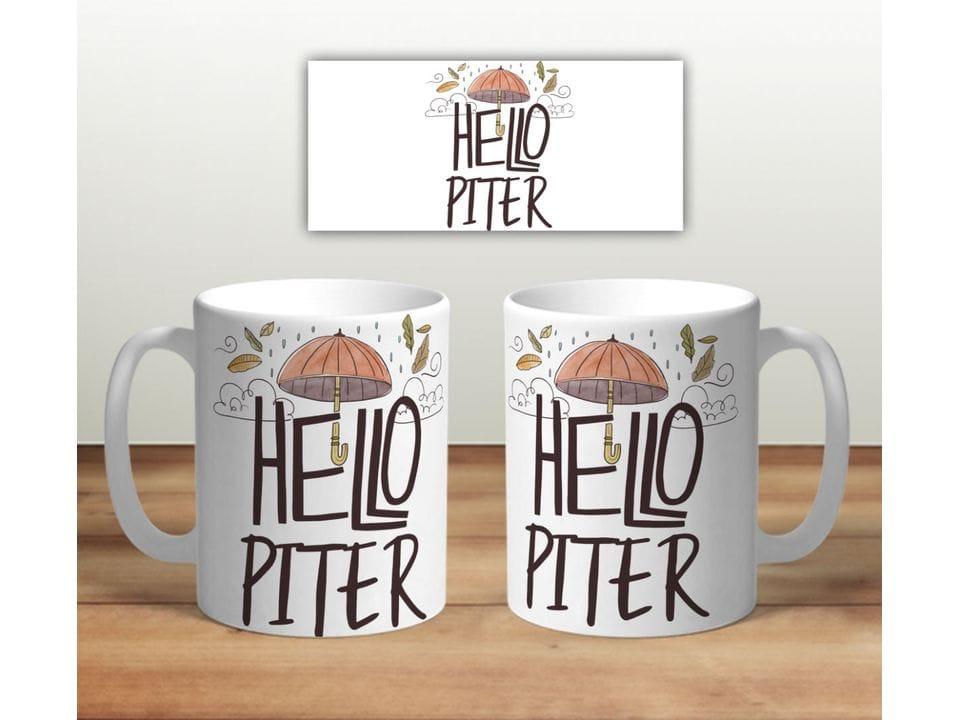 Керамическая кружка с принтом «Hello PITER»