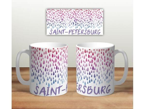 Кружка сувенирная «Saint-Petersburg разноцветные капли на фоне»