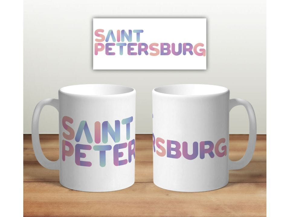 Керамическая кружка с принтом «Надпись Saint Petersburb»