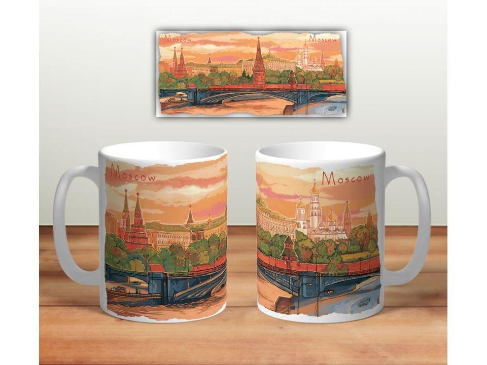 Керамическая кружка с принтом «Панорама Москвы»