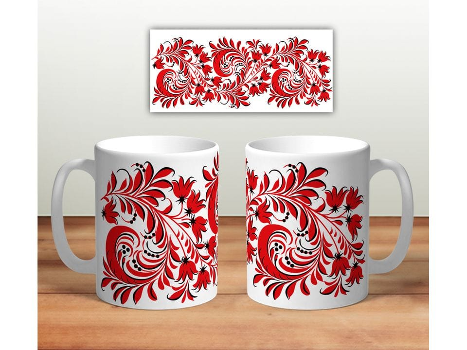 Керамическая кружка с принтом «Цветочная роспись mug113»